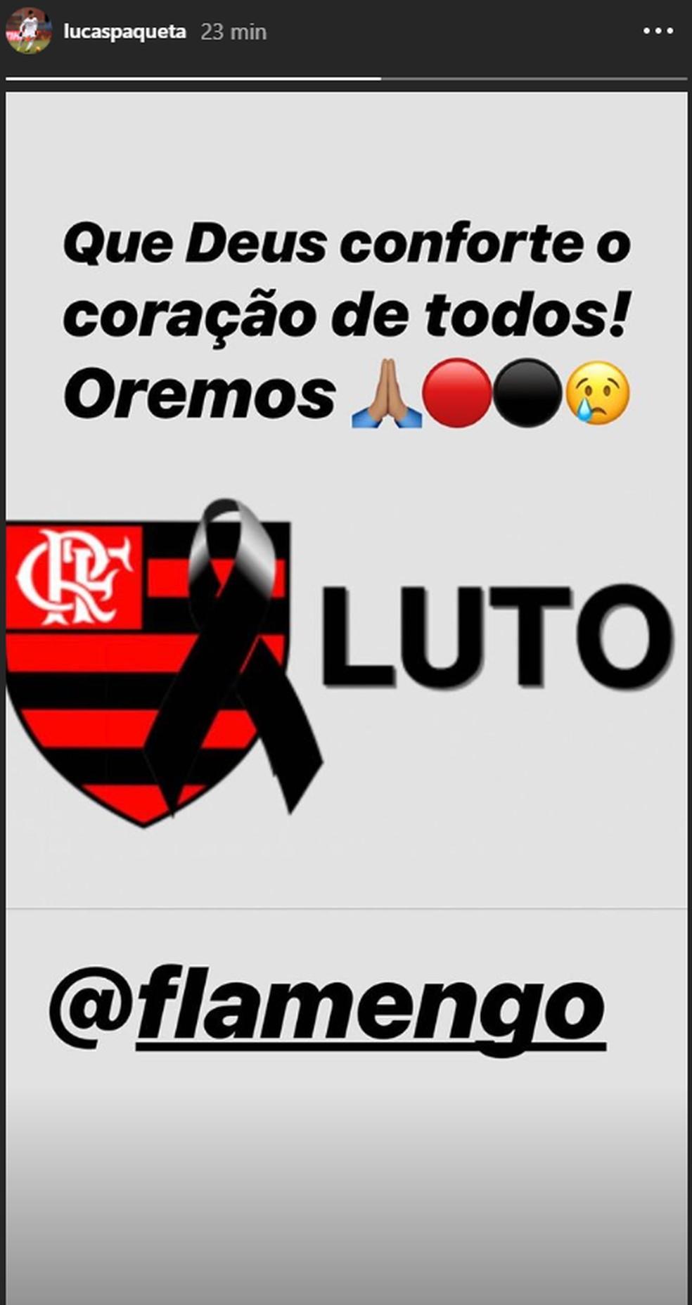 Paquetá lamenta o incêndio com vítimas no CT do Flamengo — Foto: Reprodução