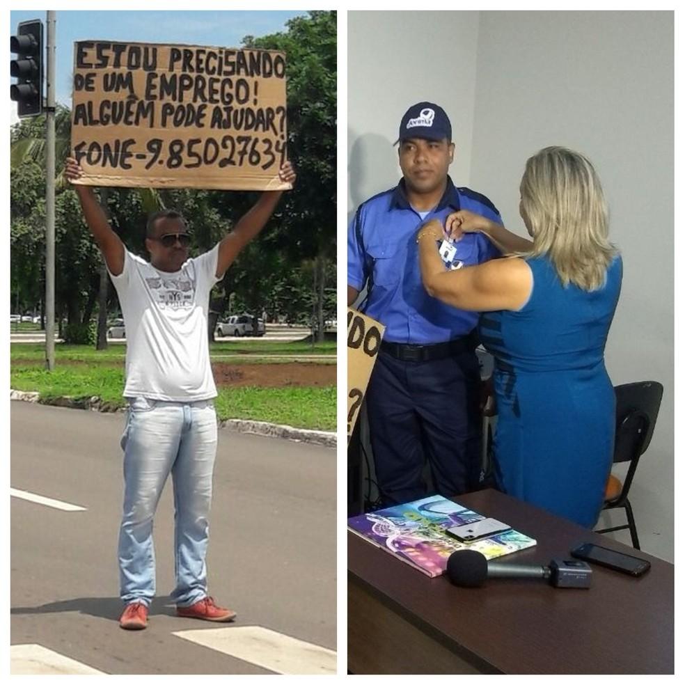 Lira conseguiu emprego de vigilante após pedir trabalho em semáforo (Foto: Montagem/G1)