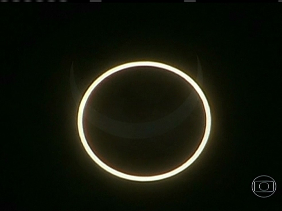 Registro de eclipse solar anular que ocorreu na Austrália — Foto: Bom Dia brasil