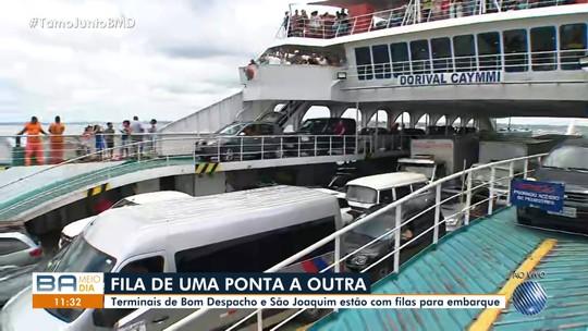 Ferry boat tem espera de 3h para embarque de veículos nos terminais de São Joaquim e Bom Despacho
