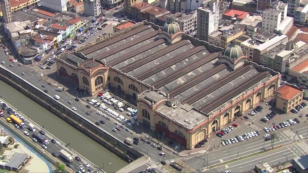 Vista aérea do Mercadão de São Paulo, no Centro da capital paulista. — Foto: Reprodução/TV Globo