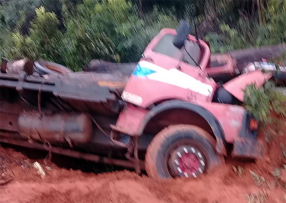 A carga de madeira, com 19 toras, não tinha procedência ambiental — Foto: Divulgação
