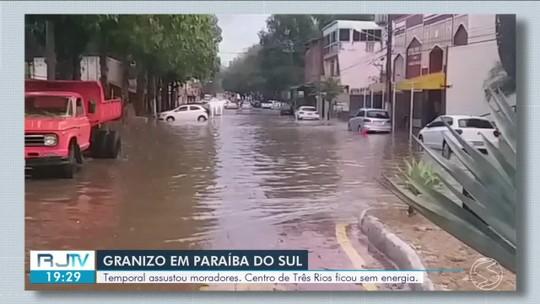 Chuva de granizo é registrada em Paraíba do Sul