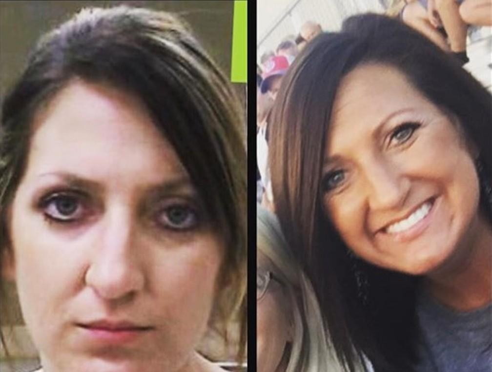 Jocelynn James postou duas fotos suas em uma rede social: quando enfrentava problemas com opioides, há dez anos, e no presente — Foto: Reprodução/Instagram