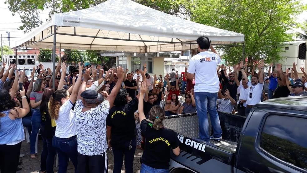 Agentes e escrivães recusam proposta do governo e paralisação da Polícia Civil do RN continua por tempo indeterminado  — Foto: Sinpol-RN