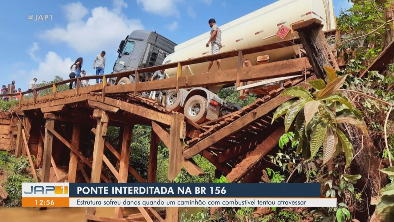 Ponte é interditada na BR 156 após ser danificada por caminhão de combustível