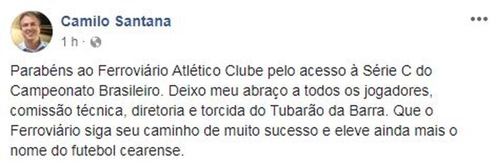 Postagem do Camilo Santana no Facebook (Foto: Reprodução)