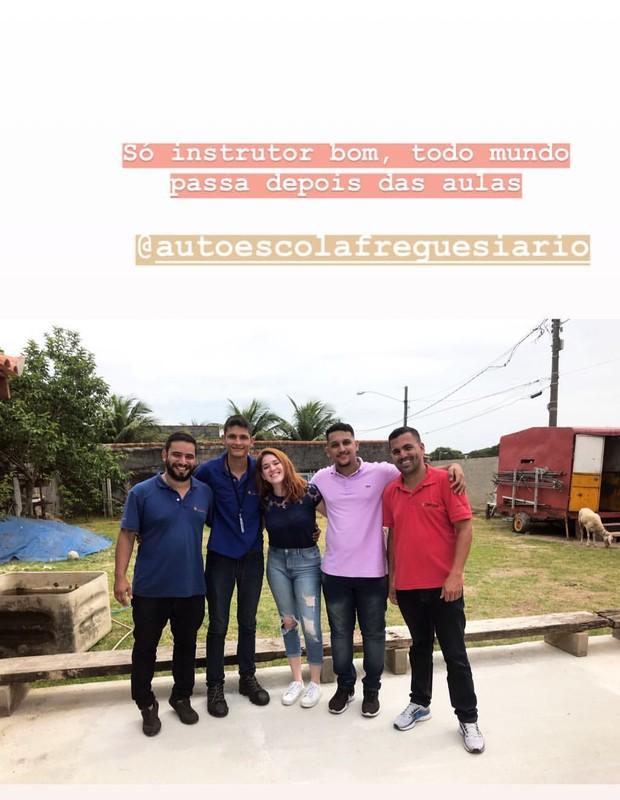 Ana Clara com os instrutores (Foto: Reprodução)