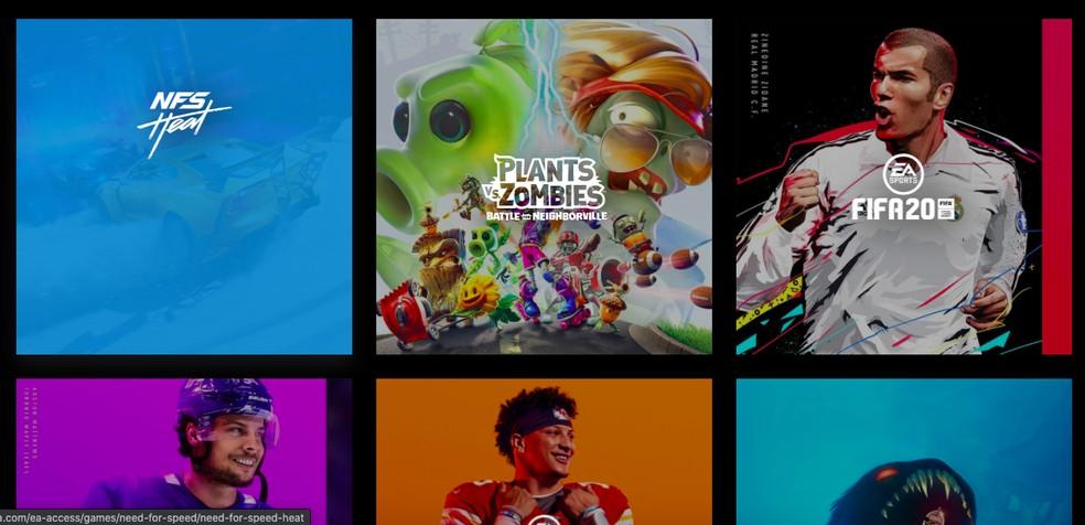 Alguns jogos do EA Access — Foto: Reprodução/Felipe Vinha