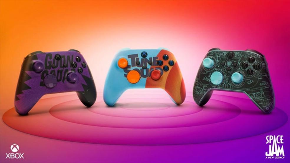 Nos Estados Unidos serão lançados três controles para Xbox inspirados por Space Jam: Um Novo Legado, mas a América Latian só receberá a versão do meio Tune Squad — Foto: Reprodução/Xbox