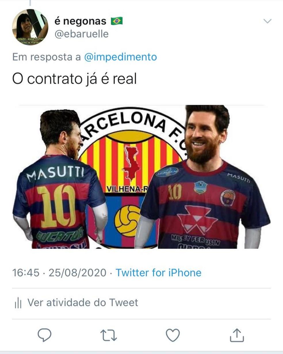 Memes do Messi no Barcelona de Vilhena lotam as redes sociais — Foto: Redes Sociais
