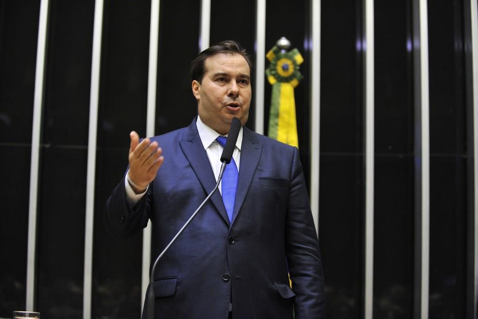 Candidato à presidência da Câmara, deputado Rodrigo Maia (DEM-RJ), discursa antes da votação — Foto: J.Batista/Câmara dos Deputados