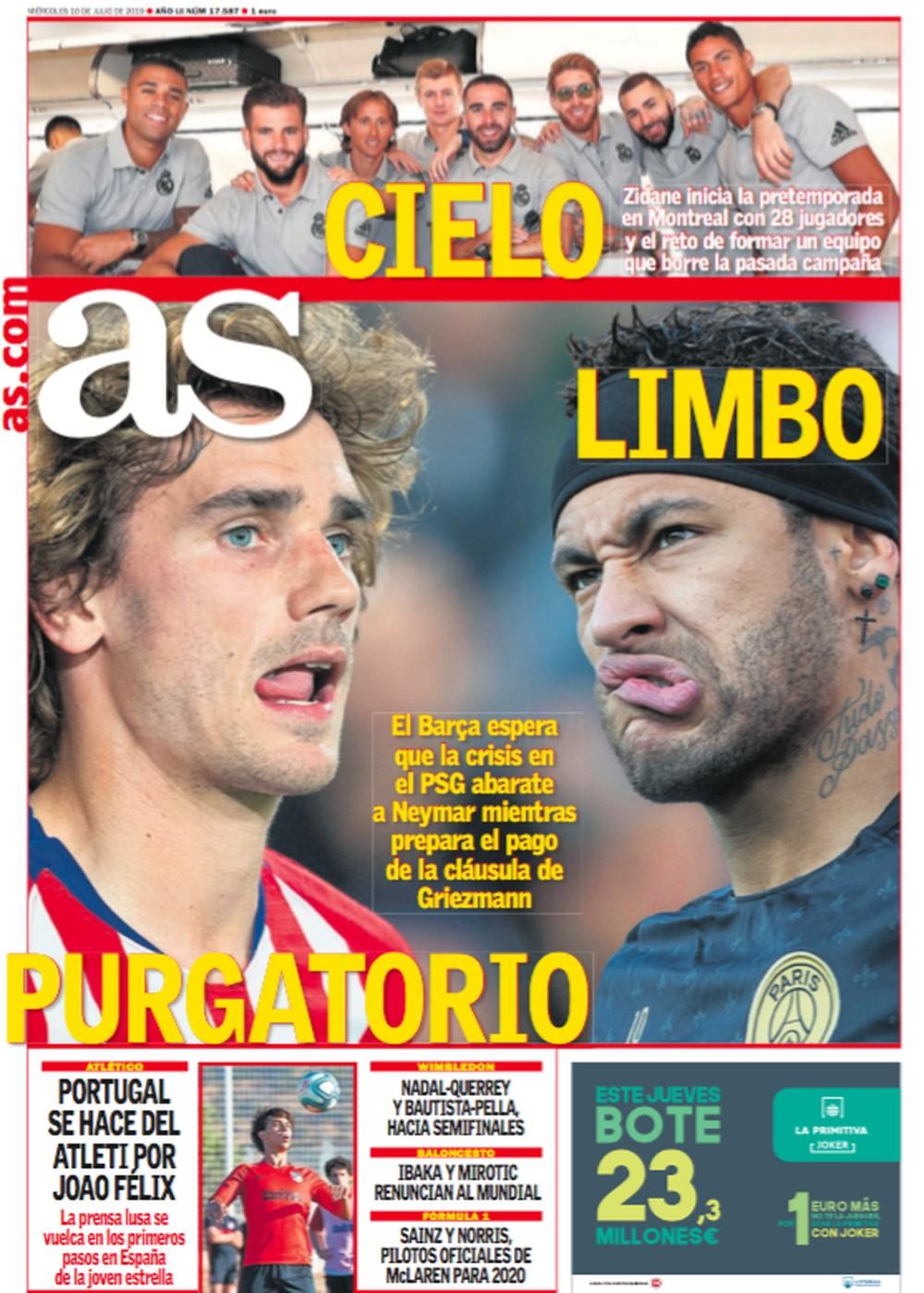 """""""As"""" diz que Neymar não é prioridade no Barcelona — Foto: Reprodução/As"""