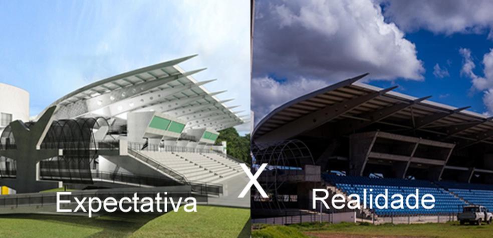 À esquerda, imagem do foto do COT da UFMT e, à direita, como estão as obras atualmente (Foto: Reprodução/ Rafaella Zanol/ Gcom-MT)