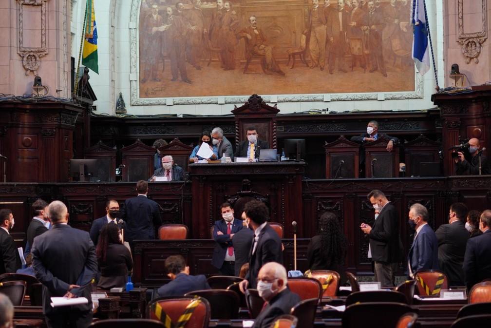 Plenário da Alerj durante sessão da comissão especial de impeachment de Wilson Witzel — Foto: Divulgação/Thiago Lontra/Alerj