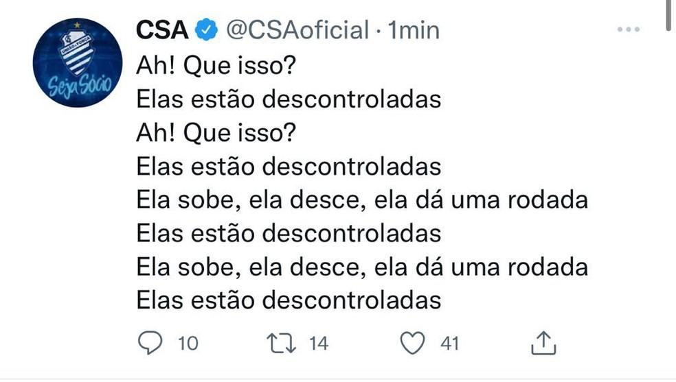 """Após tumulto na vitória em cima do Cruzeiro, CSA provoca time mineiro: """"Descontroladas"""" — Foto: Twitter/CSA"""