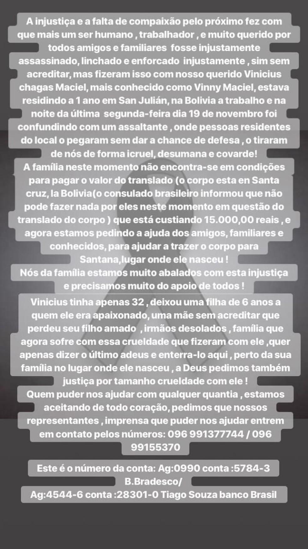 Irmã de Vinícius manifestou indignação em uma rede social, com pedido de ajuda para o traslado do corpo — Foto: Reprodução