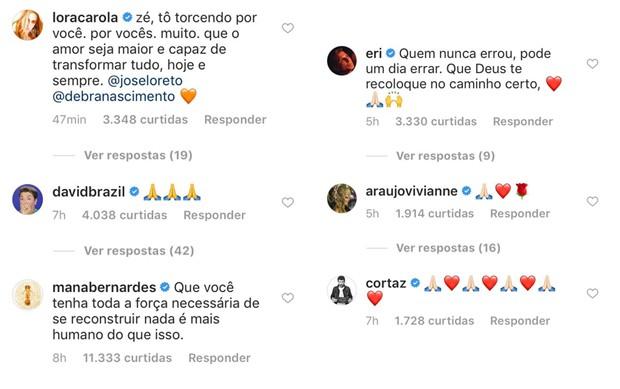 Famosos apoiam José Loreto após carta aberta (Foto: Reprodução/Instagram)