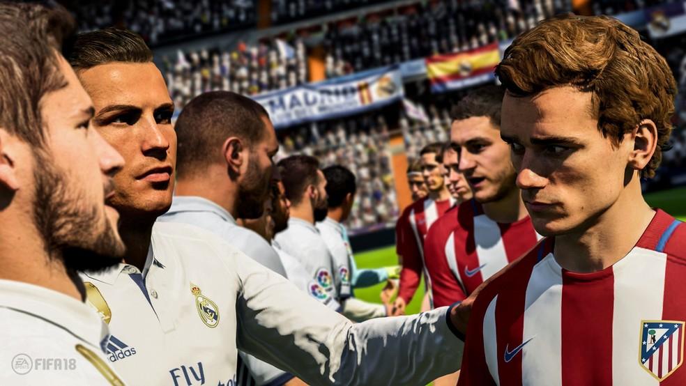 Real Madrid de Cristiano Ronaldo fica frente a frente com Atlético de Madrid de Antoine Griezmann em cena de 'Fifa 18' (Foto: Divulgação)