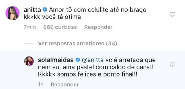Anitta comenta post de Sol Almeida (Foto: Reprodução/Instagram)