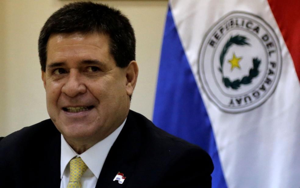 O ex-presidente do Paraguai, Horacio Cartes, em foto de 5 de abril — Foto: Reuters/Jorge Adorno