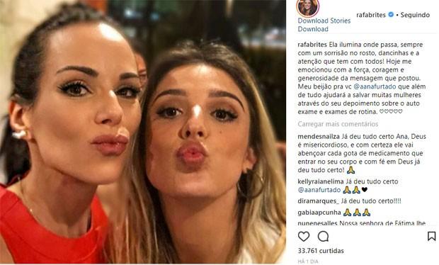 Rafa Brites manda mensagem a Ana Furtado (Foto: Reprodução/Instagram)