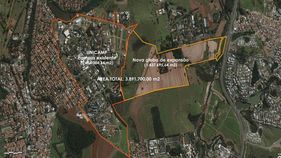 Com área adquirida pela Unicamp em 2013, a Fazenda Argentina, área total chega a 3,8 milhões de metros quadrados, em Campinas. — Foto: Reprodução/Plano Diretor Unicamp