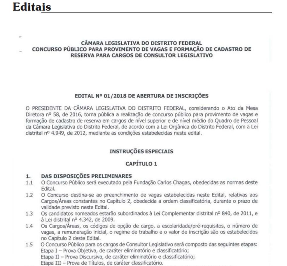 Trecho de editais do concurso publicados no Diário da Câmara (Foto: Reprodução)