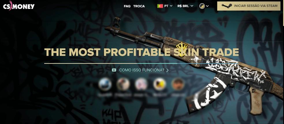 Página de inicial para realizar o login no cs.money � Foto: Reprodução/Júlio Aquino