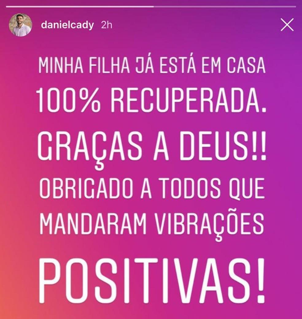 Marido de Ivete Sangalo postou sobre alta da filha de hospital em Salvador â?? Foto: Reprodução/ Instagram