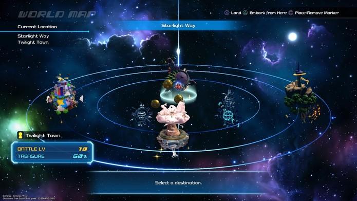 Os mundos podem ser visitados por meio do Gummi Ship (Foto: Reprodução/Murilo Tunholi)