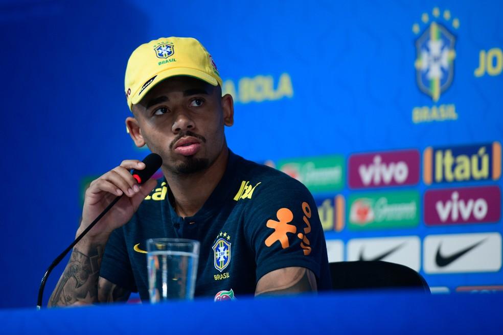 830d26ecb7298 ... Gabriel Jesus durante coletiva da Seleção — Foto: Pedro Martins / MoWA  Press