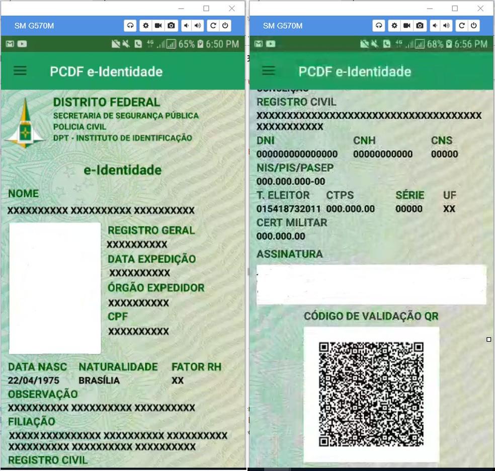 Modelo do e-Identidade — Foto: PCDF/ Divulgação