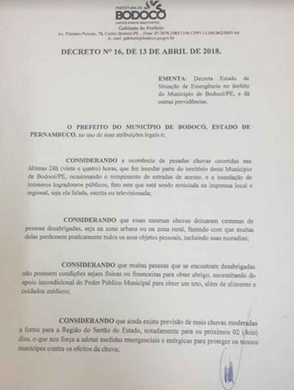 Decreto de estado de emergência em Bodocó, PE (Foto: Reprodução/ Prefeitura de Bodocó)
