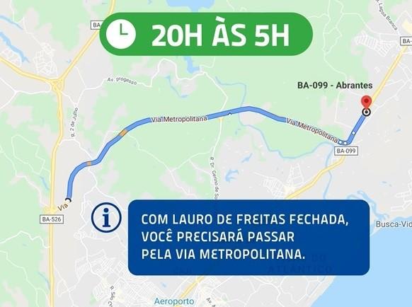 Após 'toque de recolher' em Lauro de Freitas, percurso na Estrada do Coco é modificado; confira