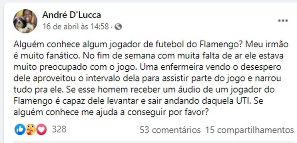 Ator pediu ajuda para conseguir áudio de um jogador do Flamengo — Foto: Facebook/Reprodução