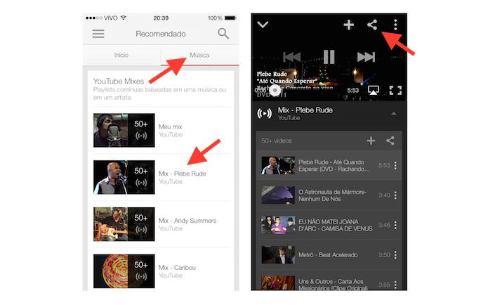 Acessando a ferramenta de compartilhamento de uma YouTube Mix em um dispositivo iOS (Foto: Reprodução/Marvin Costa)
