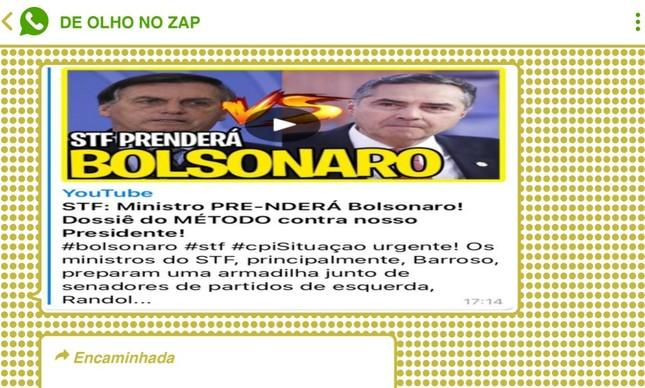 Vídeo disseminado em grupos bolsonaristas alardeia suposto plano de Barroso para prender o presidente Jair Bolsonaro