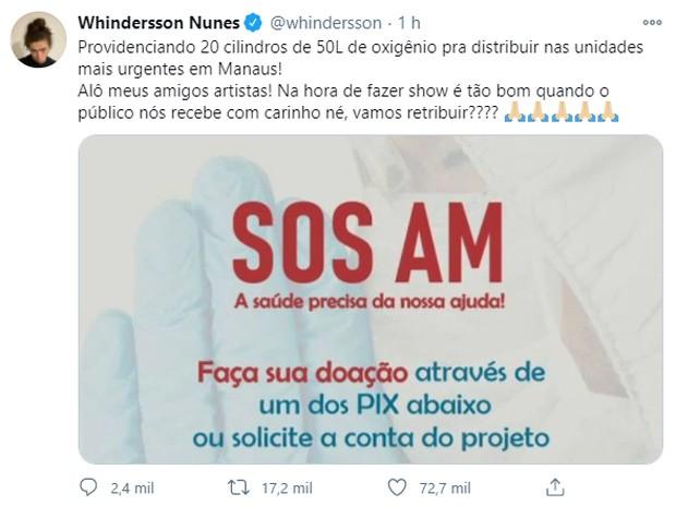 Whindersson Nunes providencia cilindros de oxigênio para hospitais de Manaus (Foto: Reprodução/Twitter)