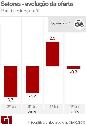 PIB agropecuária-1tri16 (Foto: Arte/G1)