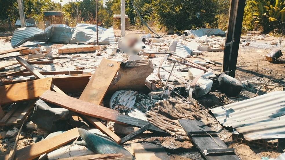 Dinamites explodiram em garimpo em MT — Foto: Corpo de Bombeiros