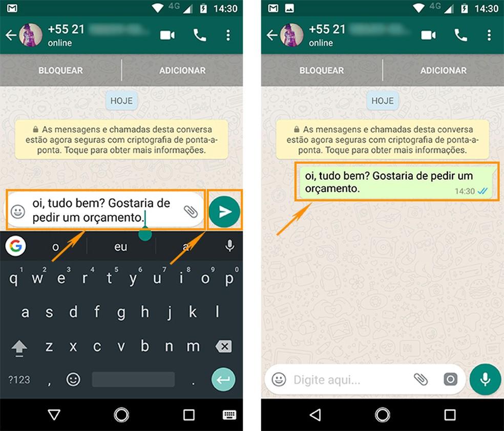 Ajuste o recado na conversa nova do WhatsApp e envie pelo celular (Foto: Reprodução/Barbara Mannara)