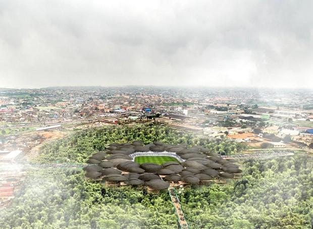 O bambu é uma material em abundância na região e é utilizado em toda a cosntrução (Foto: Designboom/ Reprodução)