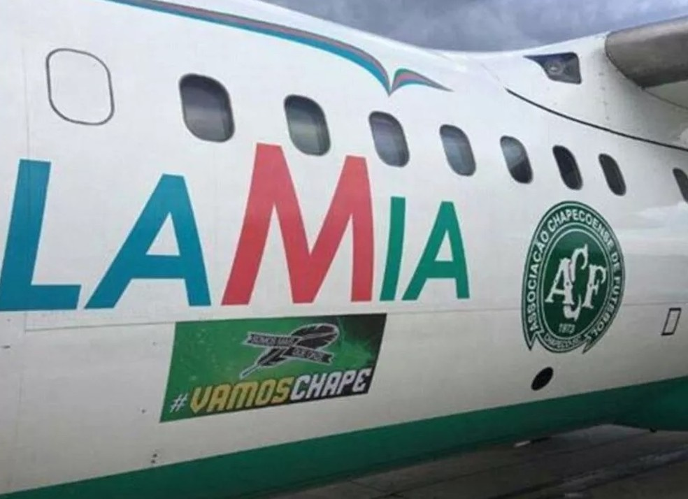 Avião Chapecoense Lamia — Foto: Reprodução/Twitter