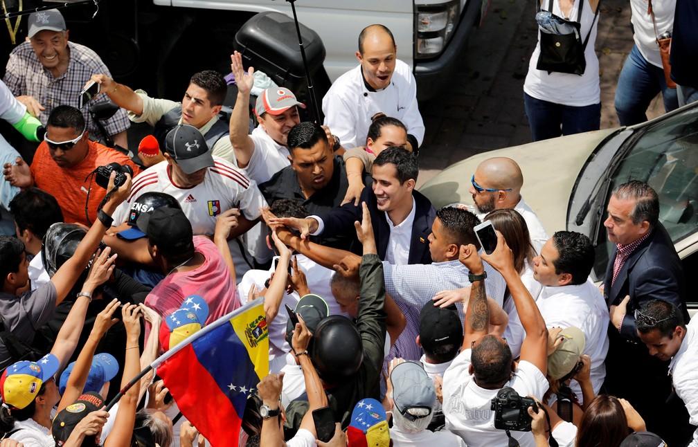 Juan Guaidó durante a manifestação em Caracas, na Venezuela, nesta segunda (4) â?? Foto: Manaure Quintero/Reuters