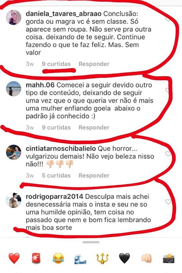 Comentários maldosos na foto de Fani Pacheco (Foto: Instagram/Reprodução)