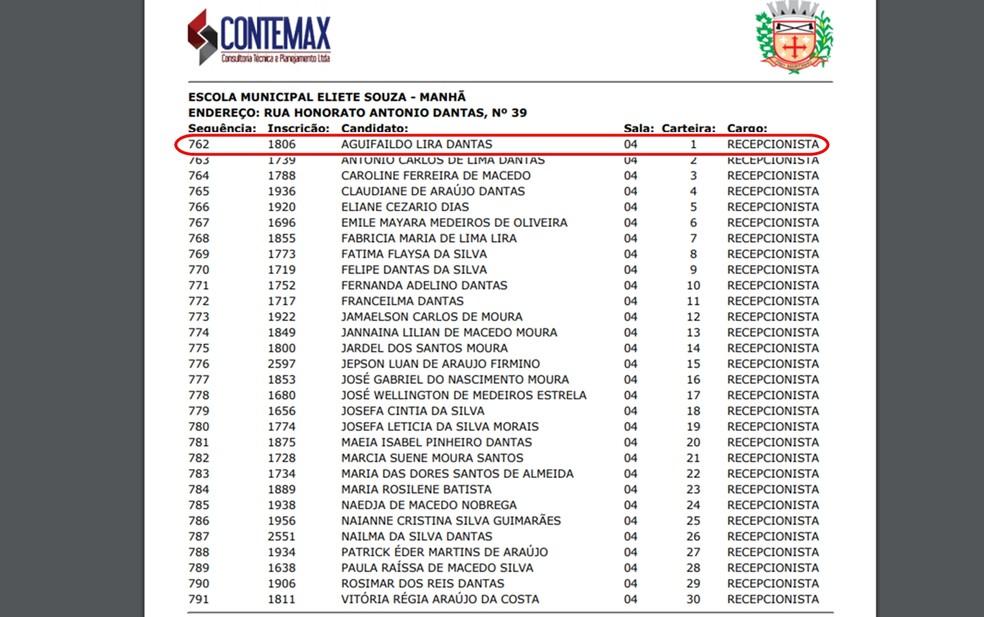 Nome do prefeito de Frei Martinho aparece no edital de convocação para provas objetivas (Foto: Reprodução/Contemax)