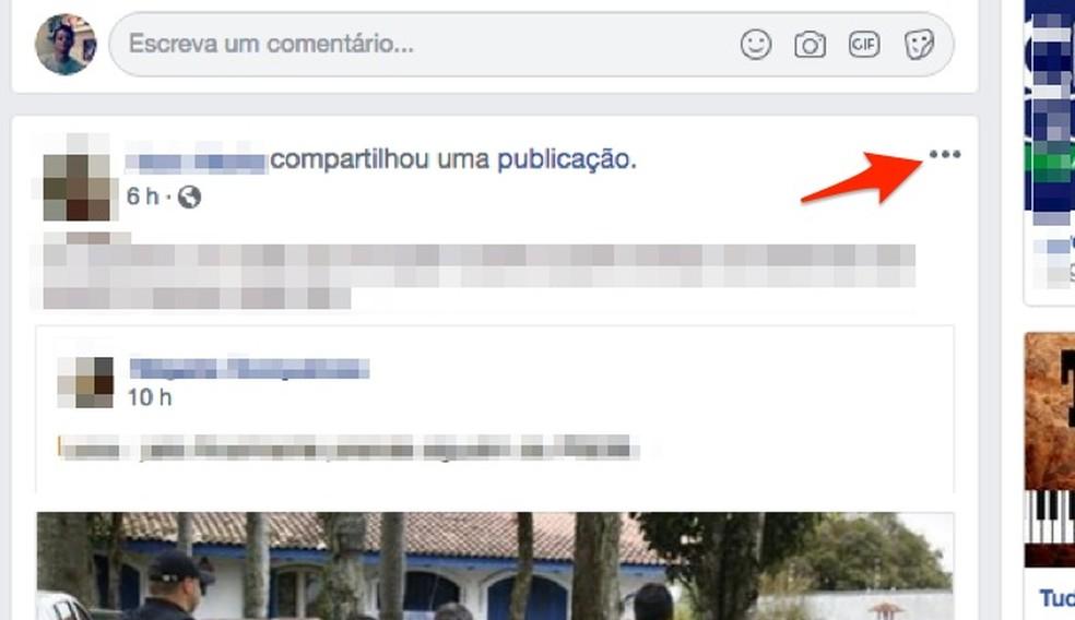 Verfique as opções para um post de amigo no feed de notícias do Facebook — Foto: Reprodução/Marvin Costa