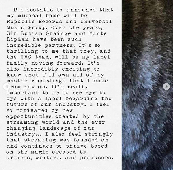 Um trecho do post no qual Taylor Swift anuncia sua ida para uma nova gravadora (Foto: Instagram)