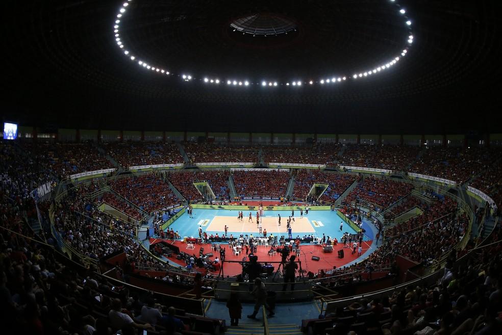 Ginásio do Ibirapuera lotado para final entre Sesi-SP e Cruzeiro (Foto: Gaspar Nobrega/Inovafoto/CBV)